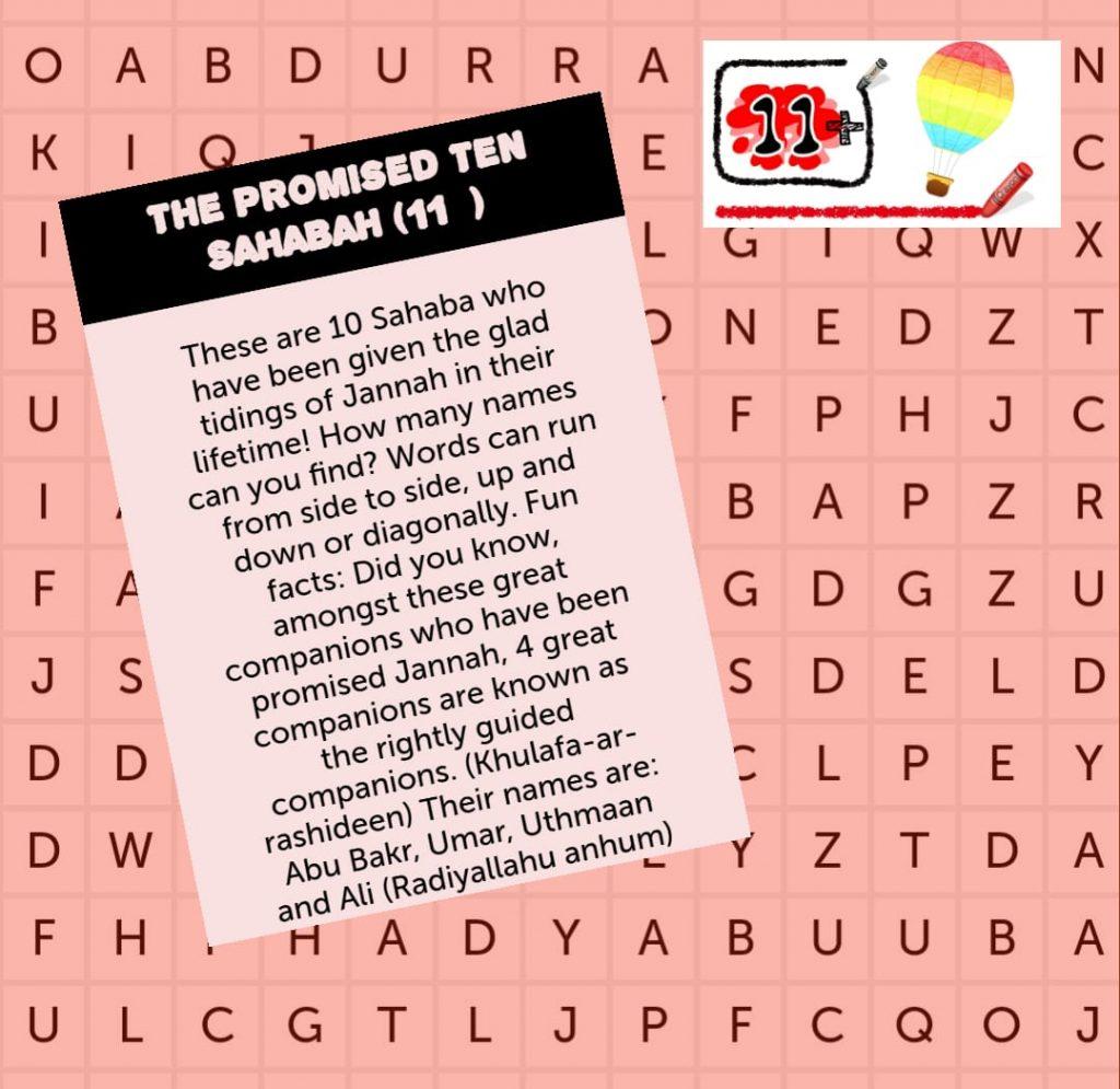 Word search 9 – 10 Sahaba Promised Jannah 11+