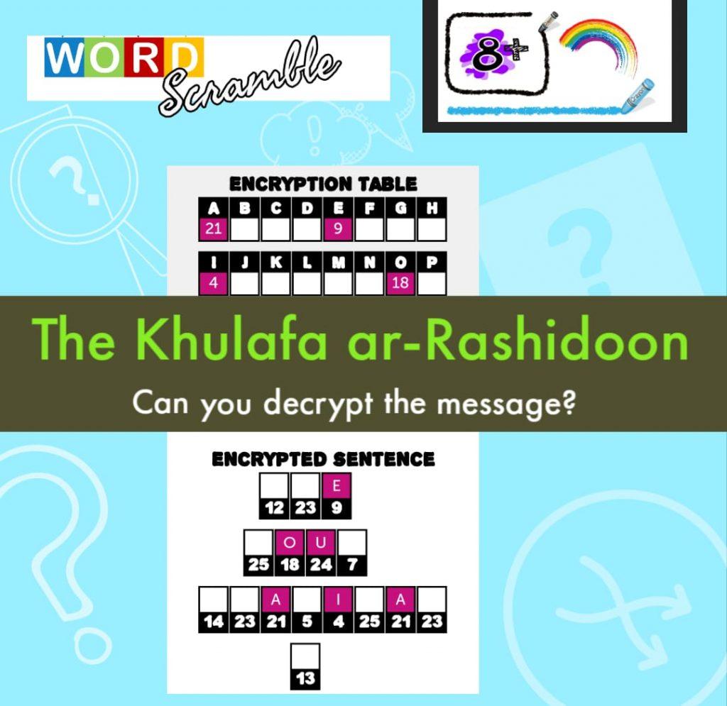Word Scramble Medium – 4 Rightly Guided Khulafa