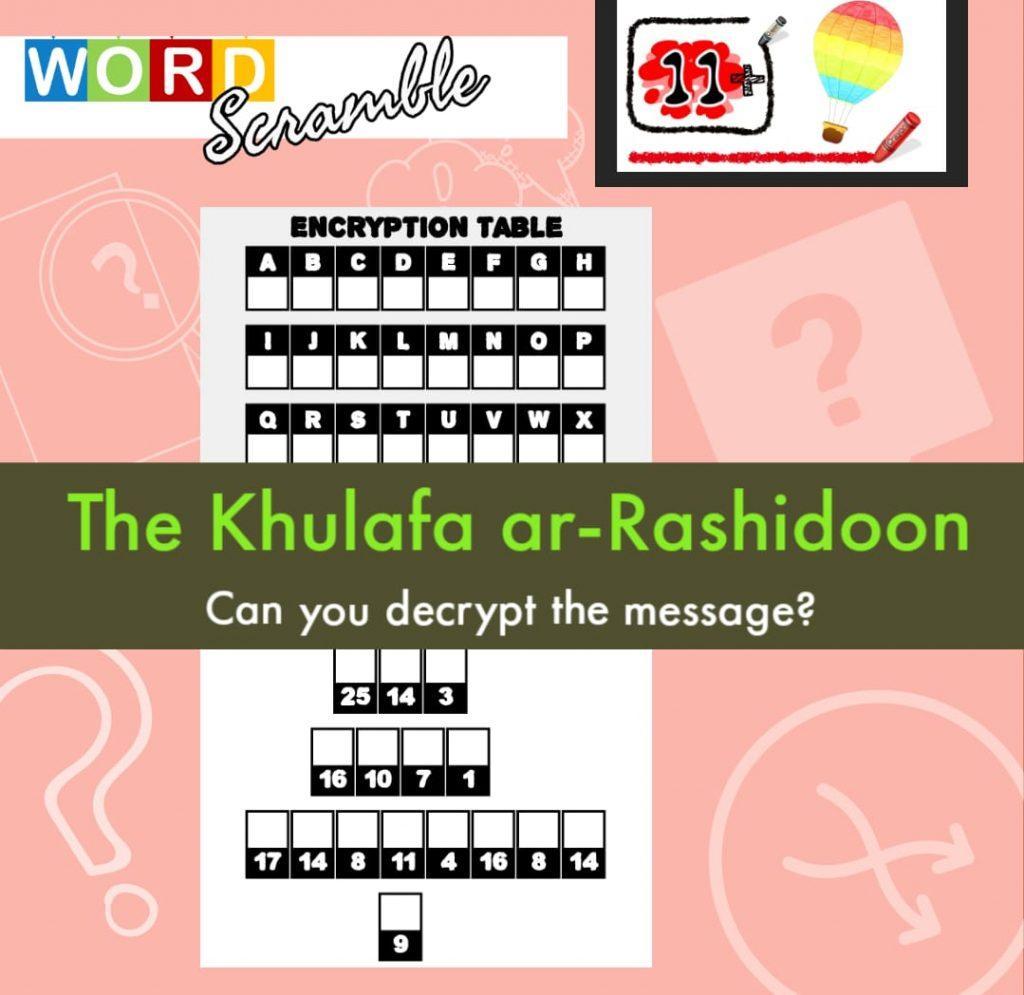 Word Scramble Hard – 4 Rightly Guided Khulafa