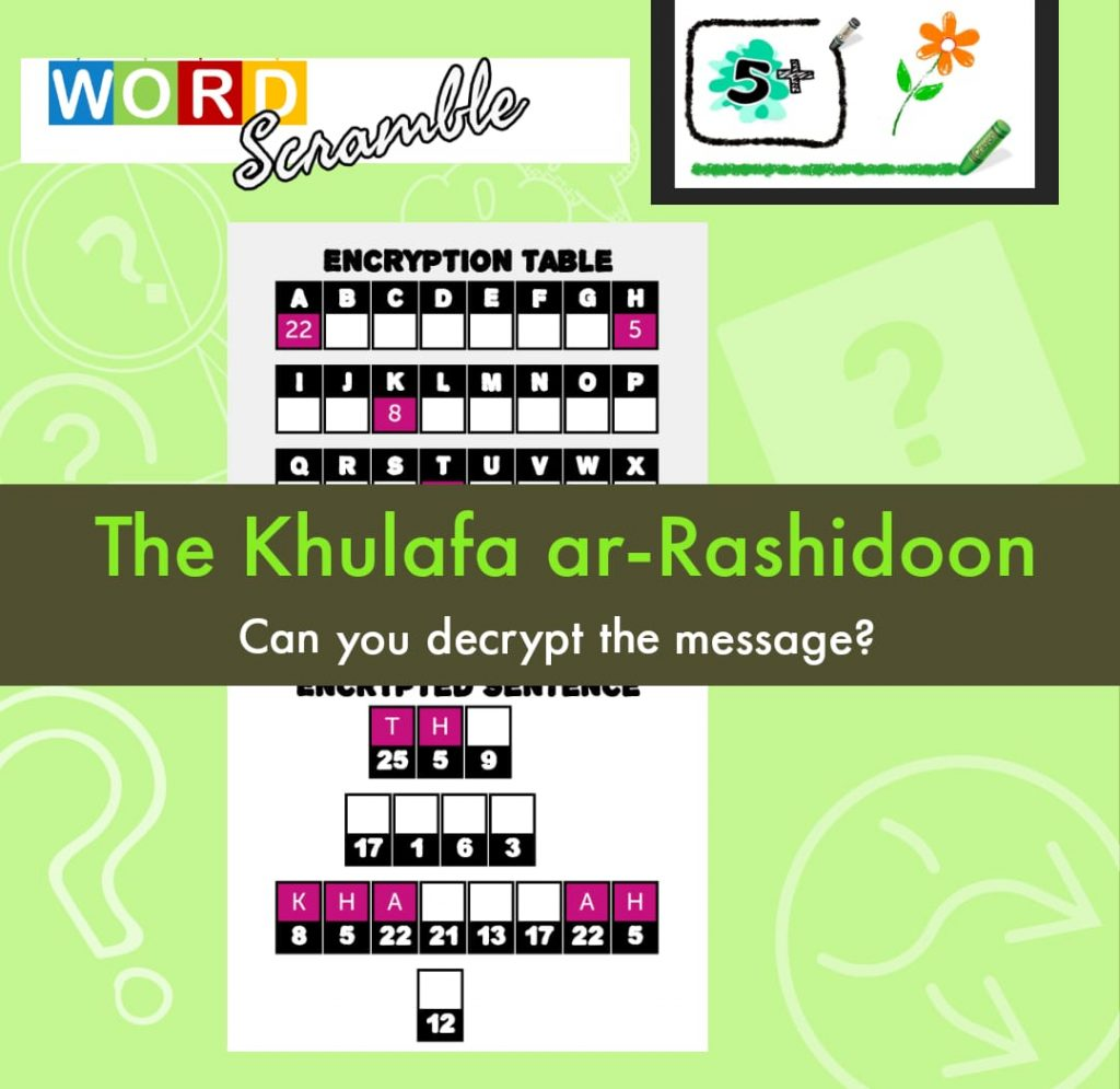 Word Scramble Easy – 4 Rightly Guided Khulafa