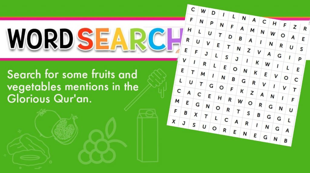 Word Search – Fruits and vegetables mentioned in the Glorious Qur'an
